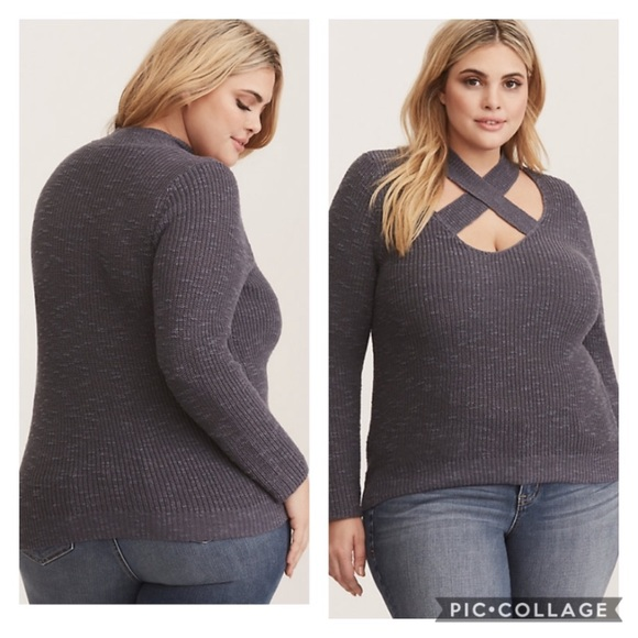 NWT TORRID GREY CROSS FRONT PULLOVER SWEATER